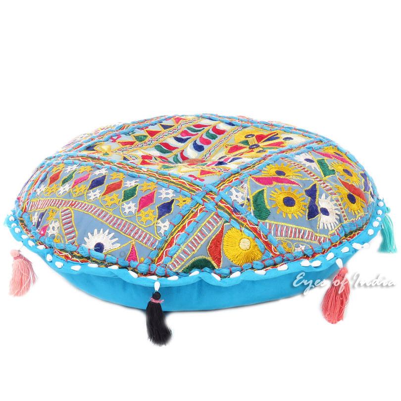 Blue Bohemian Decorative Patchwork Round Floor Cushion Seating Boho Meditation Pillow Throw Cover - 22""