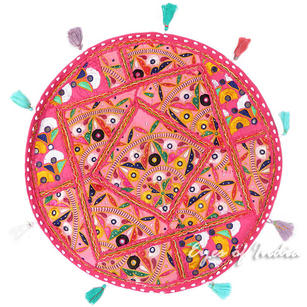Pink Boho Decorative Patchwork Round Floor Cushion Bohemian Seating Meditation Pillow Throw Cover - 22""