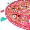 "Pink Boho Decorative Patchwork Round Floor Cushion Bohemian Seating Meditation Pillow Throw Cover - 22"" 2"