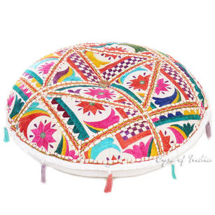 Round Colorful White Decorative Rajkoti Patchwork Floor Meditation Boho Pillow Bohemian Throw Cover - 22""