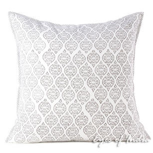 Gray Block Print Bohemian Couch Pillow Cover Cushion Sofa Colorful Decorative Boho Throw - 16, 24""