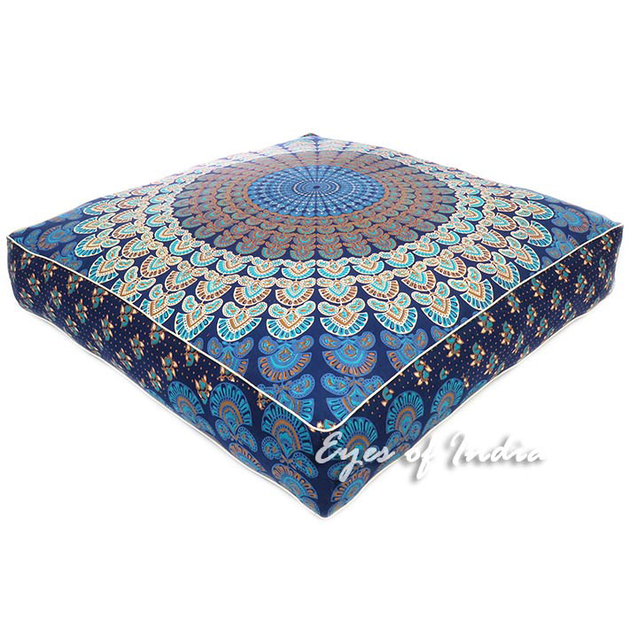 Large Blue Oversized Blue Mandala Square Colorful Floor Pillow Cover Pouf Meditation Cushion - 35""