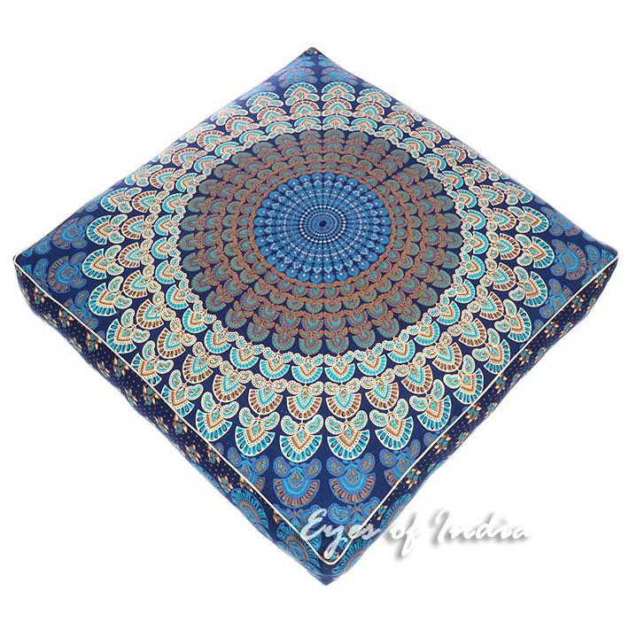 "Large Blue Oversized Blue Mandala Square Colorful Floor Pillow Cover Pouf Meditation Cushion - 35"""