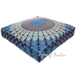 "35"" Large Blue Oversized Blue Mandala Square Floor Pillow Cover Pouf Meditation"