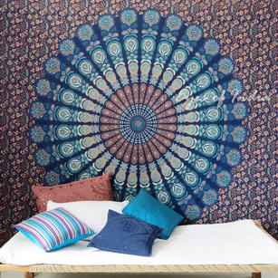 Blue Bohemian Elephant Mandala Hippie Boho Indian Wall Tapestry - Small and Large