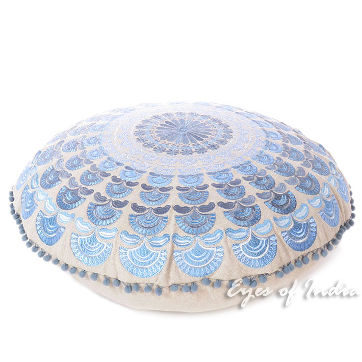 Blue Silver Round Embroidered Mandala Colorful Floor Seating Meditation Cushion Pillow Cover - 24""