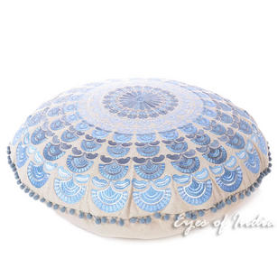 Blue Silver Round Embroidered Mandala Colorful Floor Seating Meditation Cushion Pillow Throw Cover - 24""