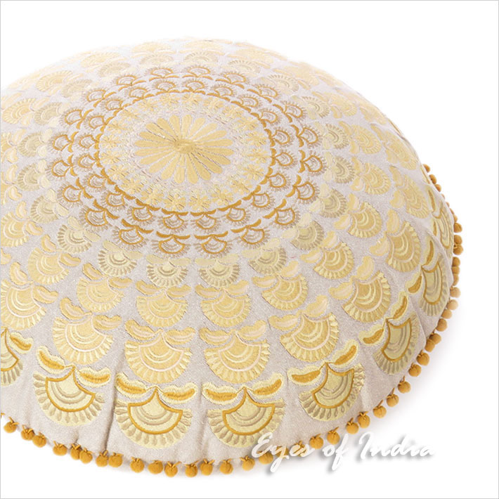 Brown Gold Embroidered Mandala Round Floor Meditation Pillow Cushion Seating Throw Cover - 24""