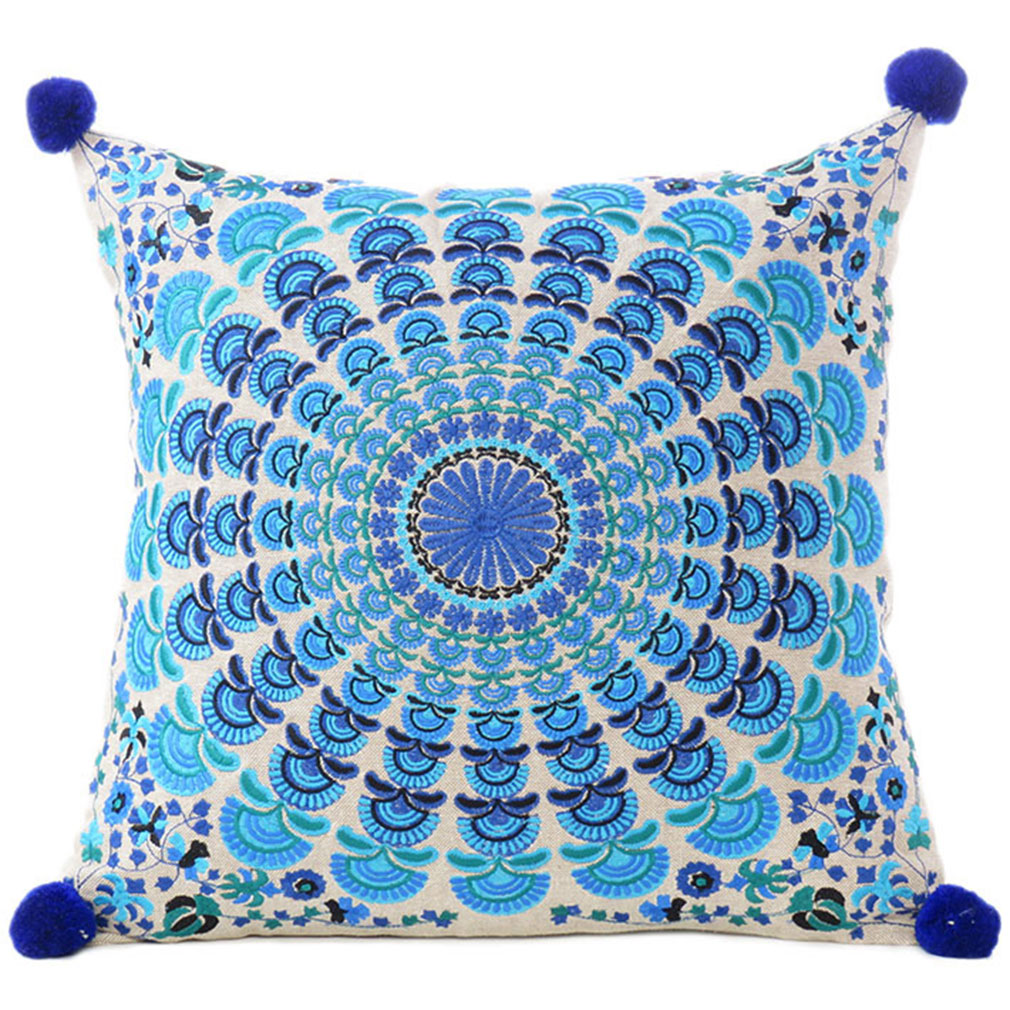 Blue Turquoise Colorful Decorative Embroidered Mandala Boho Couch Cushion  Pillow Sofa Throw Cover - 16\