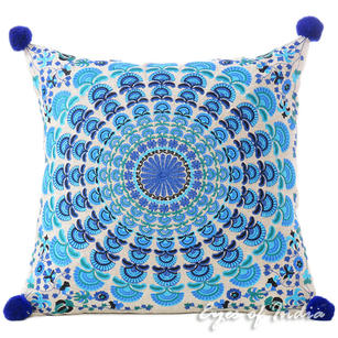Blue Turquoise Colorful Decorative Embroidered Mandala Boho Couch Cushion Pillow Sofa Throw Cover - 16""