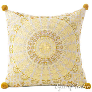 "Brown Gold Colorful Decorative Embroidered Mandala Sofa Throw Pillow Bohemian Cushion Cover - 16"""