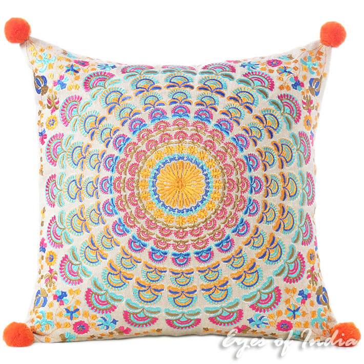 Orange Purple Colorful Decorative Embroidered Mandala Sofa Boho Cushion Couch Pillow Throw Cover - 16""