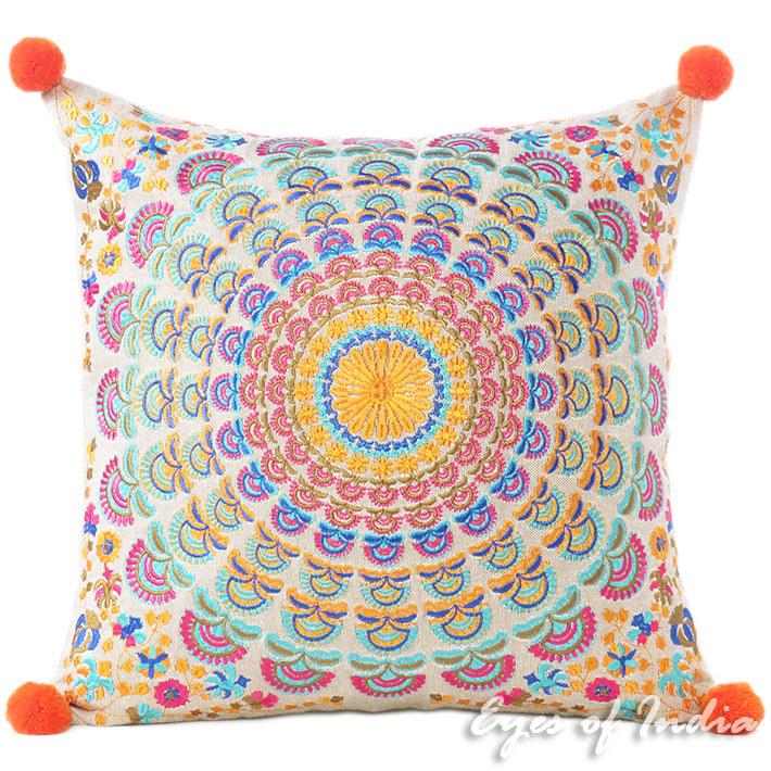 Orange Purple Colorful Decorative Embroidered Mandala Sofa Boho Cushion  Couch Pillow Throw Cover - 16\