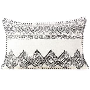 White Black Dhurrie Printed Colorful Lumbar Long Bolster Sofa Throw Couch Pillow Cushion Cover - 16 X 24""