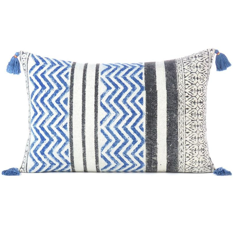 """Black Blue Dhurrie Printed Colorful Decorative Throw Lumbar Long Bolster Sofa Cushion Couch Pillow Cover - 16 X 24"""""""