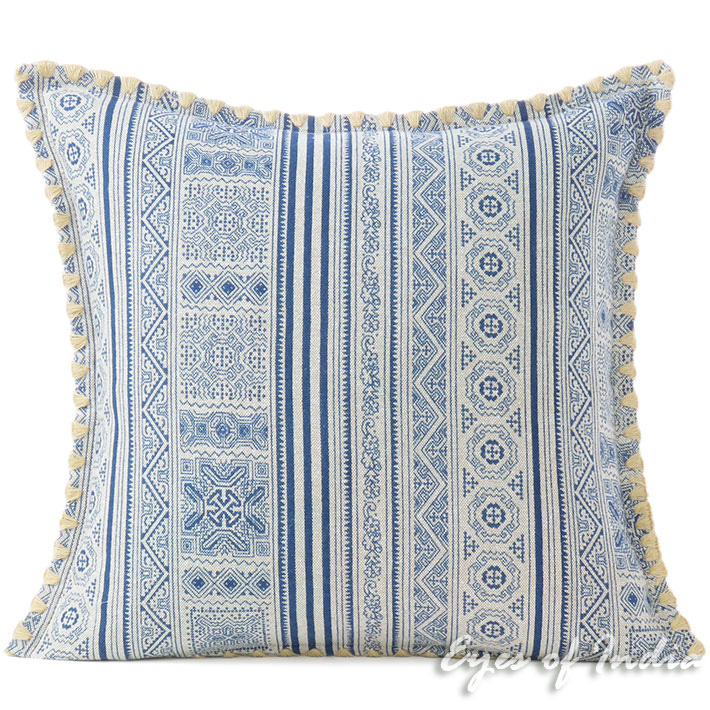 Indigo Blue Cream Hmong Printed Boho Sofa Pillow Cushion Colorful Throw Cover 16