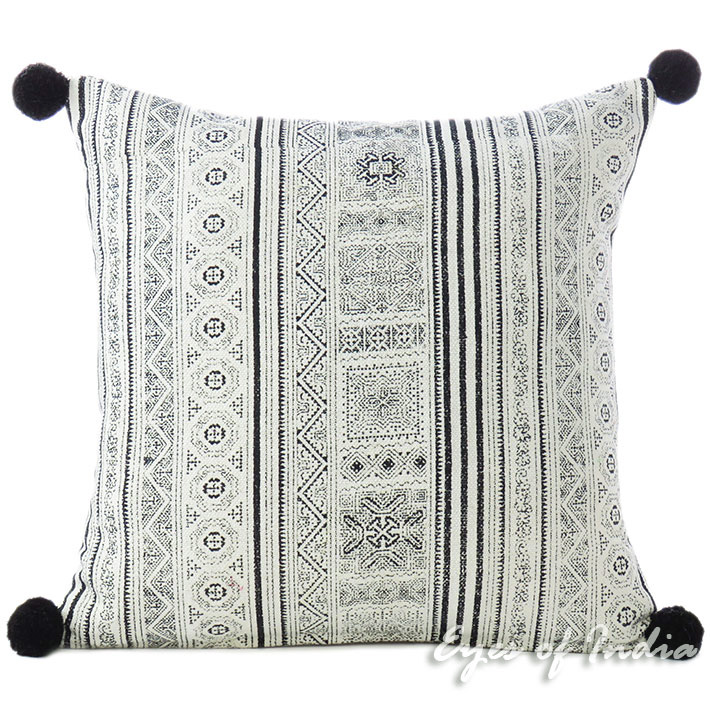 Black White Hmong Printed Bohemian Sofa Pillow Couch Cushion Colorful Throw Cover 16