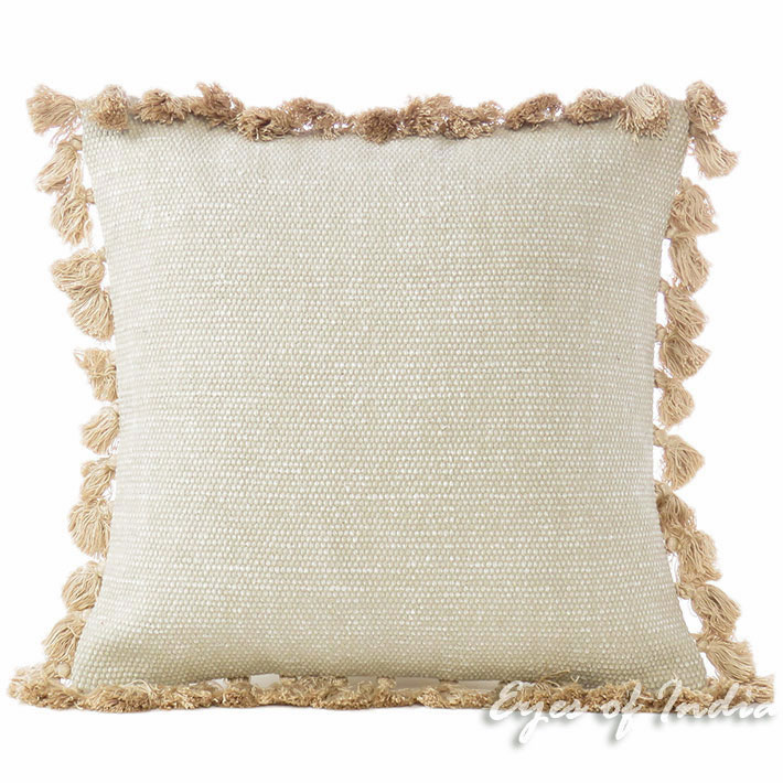 Cream Beige Colorful Decorative Cotton Dhurrie Cushion Couch Tassels Pillow Throw Cover - 16""