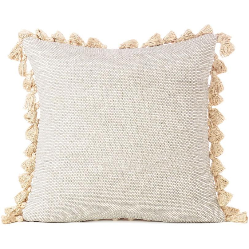 """Cream Beige Colorful Decorative Cotton Dhurrie Cushion Couch Tassels Pillow Throw Cover - 16"""""""