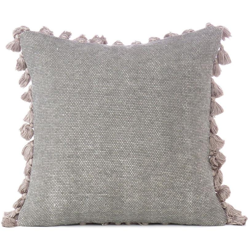 """Grey Colorful Decorative Dhurrie Cotton Cushion Pillow Sofa Throw Tassels Cover - 16"""""""