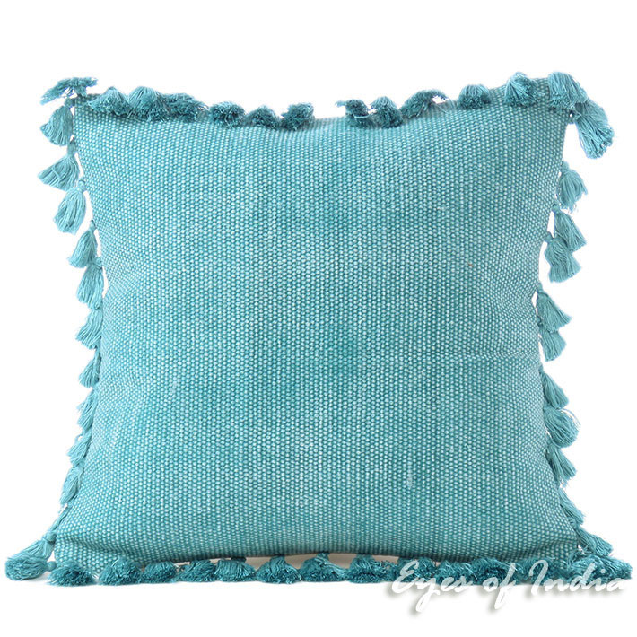 Blue Cotton Decorative Dhurrie Sofa Throw Couch Tassels Pillow Cushion Cover - 16""