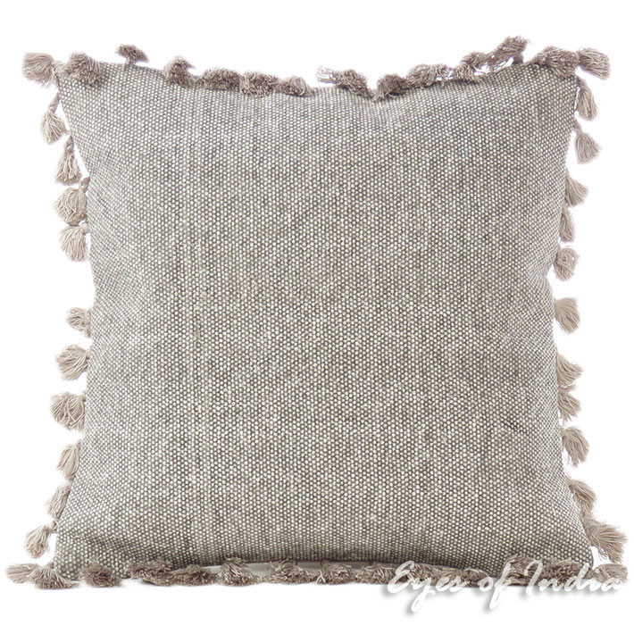 Brown Grey Colorful Cotton Sofa Tassels Cushion Couch Pillow Throw Cover - 16""