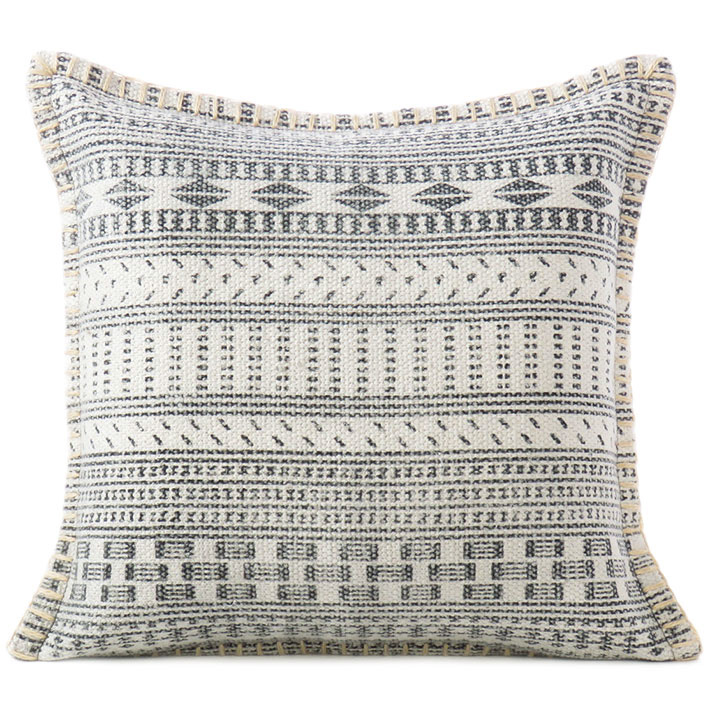 """White Grey Dhurrie Printed Colorful Decorative Throw Sofa Cushion Couch Pillow Cover - 16, 16 X 24"""""""