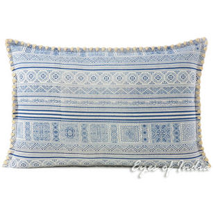 Indigo Blue Cream Hmong Printed Boho Sofa Pillow Cushion Colorful Throw Cover - 16, 16 X 24""
