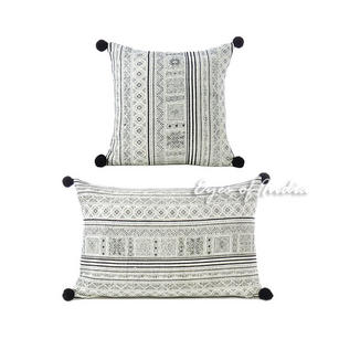 Black White Hmong Printed Bohemian Sofa Pillow Couch Cushion Throw Cover - 16, 16 X 24""