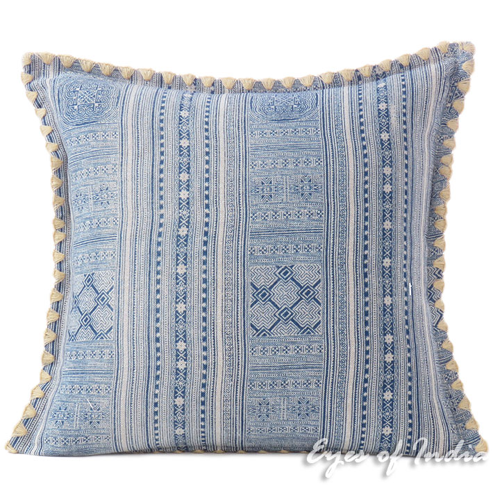Blue Indigo Cream Hmong Printed Pillow Couch Cushion Colorful Throw Cover - 16, 16 X 24""