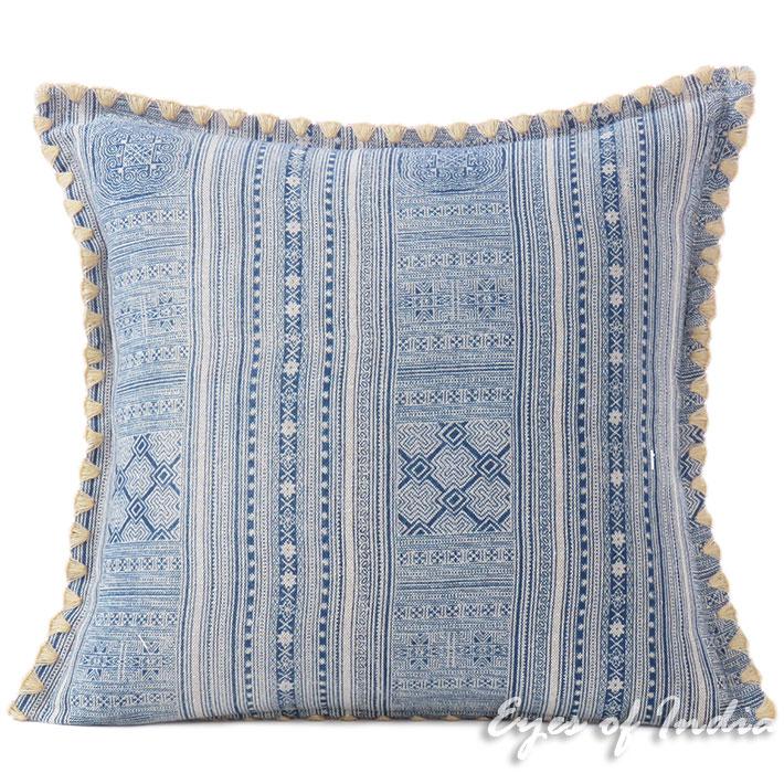 "Blue Indigo Hmong Printed Boho Sofa Pillow Couch Cushion Colorful Throw Cover - 16, 16 X 24"""
