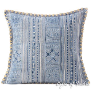 Blue Indigo Hmong Printed Boho Sofa Pillow Couch Cushion Throw Cover - 16, 16 X 24""