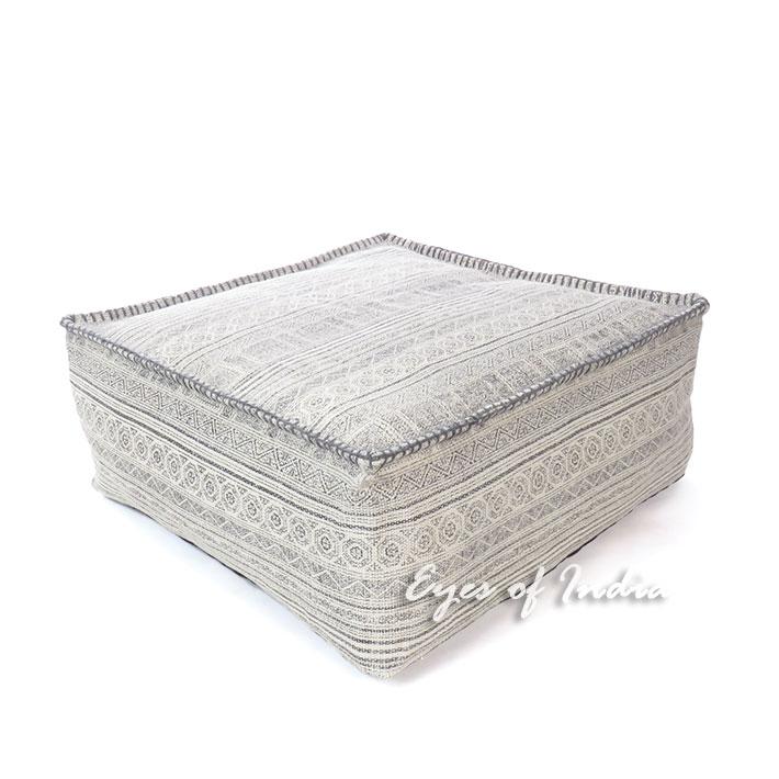 "Gray Square Hmong Ottoman Pouf Pouffe Floor Seating Boho Cover - 25 X 10"""