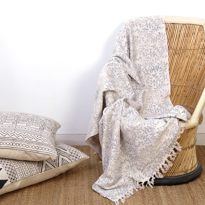 Beige Cream Printed Light Weight Throw Textured Blanket With Fringe
