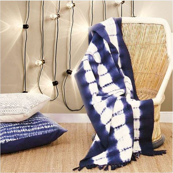 Blue Indigo Striped Tie Dye Lightweight Throw Textured Blanket With