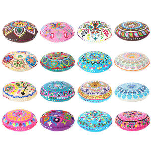 """Colorful Embroidered Round Floor Seating Meditation Pillow Cushion Cover - 24"""""""