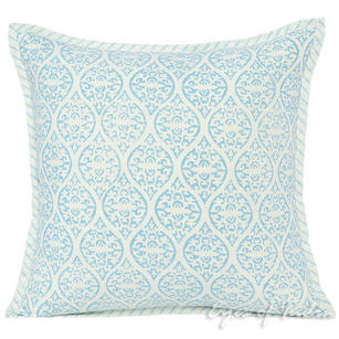 "16"" Indigo Blue Gray Patchwork Decorative Pillow Cushion Cover Throw Sofa Couch Colorful Boho Seating Bohemian Indian"