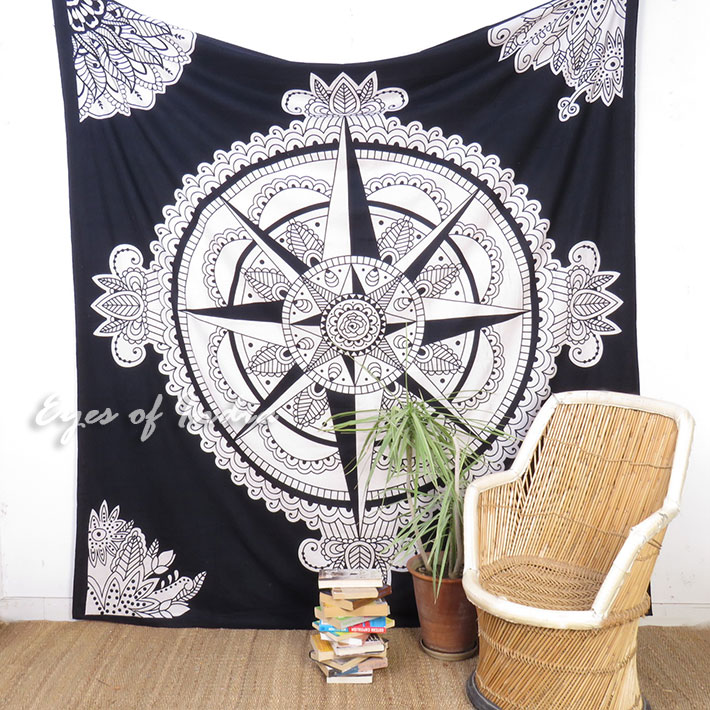 White Black Hippie Mandala Wall Hanging Celtic Tapestry Boho Bedspread - Large/Queen