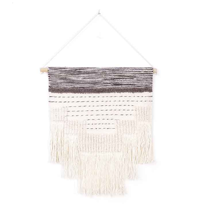 White Embroidered Macrame Fringe Tassel Tapestry Gypsy Bohemian Decorative Wall Hanging - 24 X 26""
