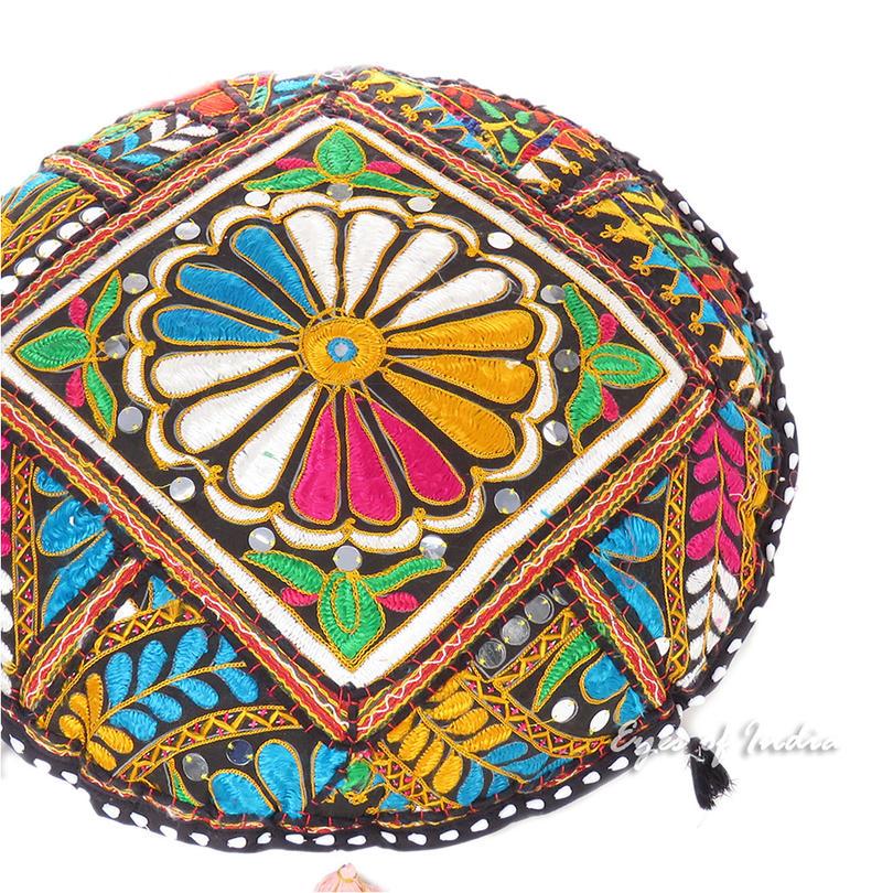 "Black Decorative Rajkoti Patchwork Round Colorful Floor Cushion Seating Meditation Pillow Throw Cover- 17"""