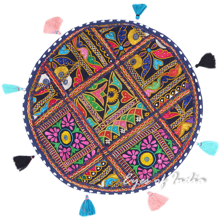 Blue Round Colorful Floor Meditation Pillow Cushion Seating Bohemian Colorful Throw Cover- 17""
