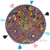 "Blue Round Colorful Floor Meditation Pillow Cushion Seating Bohemian Colorful Throw Cover- 17"" 1"