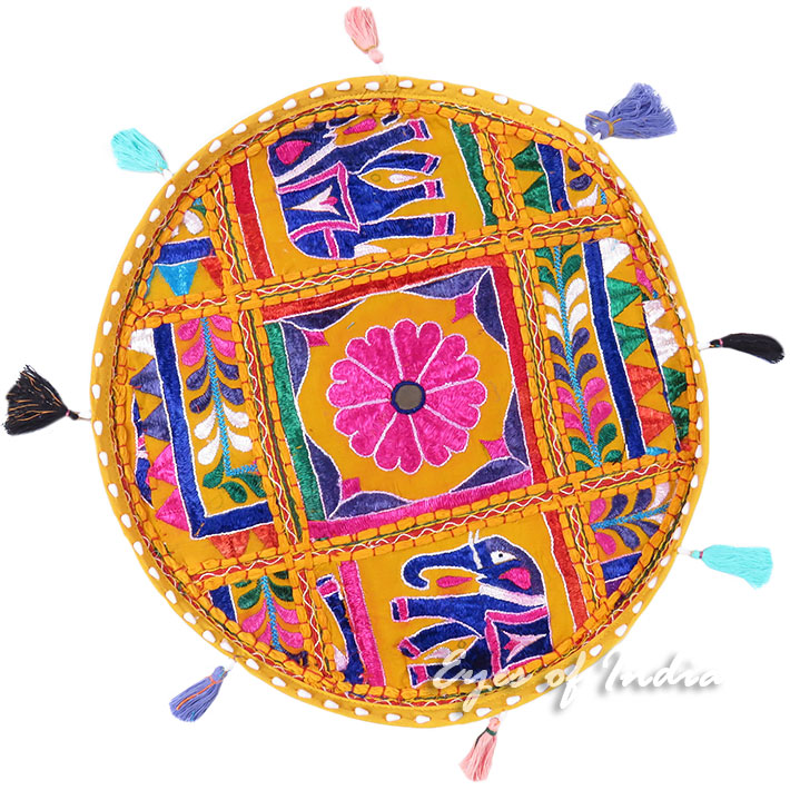 """Yellow Colorful Patchwork Round Floor Cushion Boho Bohemian Seating Pillow Throw Cover - 17"""""""