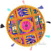 """Yellow Colorful Patchwork Round Floor Cushion Boho Bohemian Seating Pillow Throw Cover - 17"""" 1"""