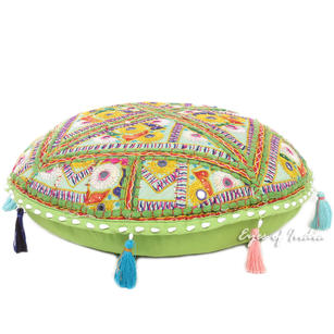Green Colorful Patchwork Round Floor Pillow Meditation Cushion Seating Throw Boho Bohemian Cover - 17""