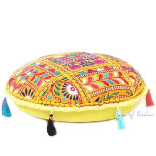 "Yellow Colorful Decorative Rajkoti Patchwork Round Floor Meditation Bohemian Pillow Cushion Throw Cover - 17"""