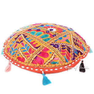"""Orange Round Colorful Floor Meditation Pillow Seating Boho Colorful Cushion Throw Cover - 17"""""""