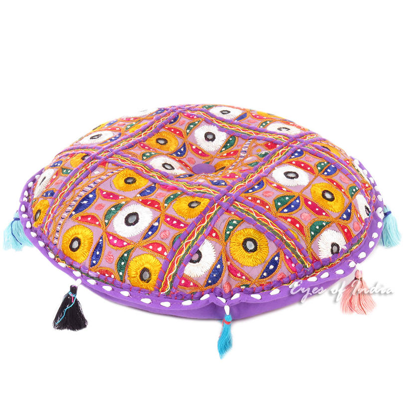 Purple Decorative Rajkoti Patchwork Bohemian Boho Round Floor Pillow Meditation Cushion Throw Cover - 17""