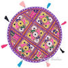 "Purple Decorative Patchwork Bohemian Boho Round Floor Pillow Meditation Cushion Seating Throw Cover - 17"" 1"