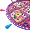 "Purple Decorative Patchwork Bohemian Boho Round Floor Pillow Meditation Cushion Seating Throw Cover - 17"" 2"